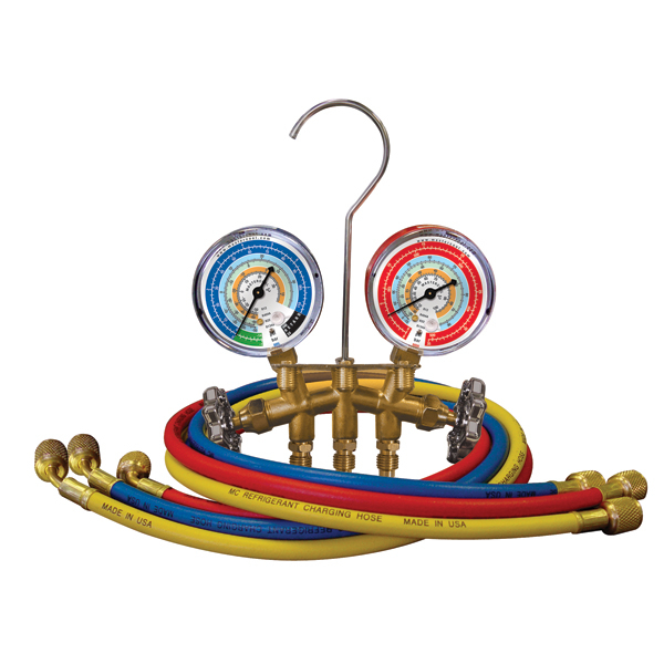 Mastercool 59161 2-Valve Brass Charging Manifold with 60in Hoses