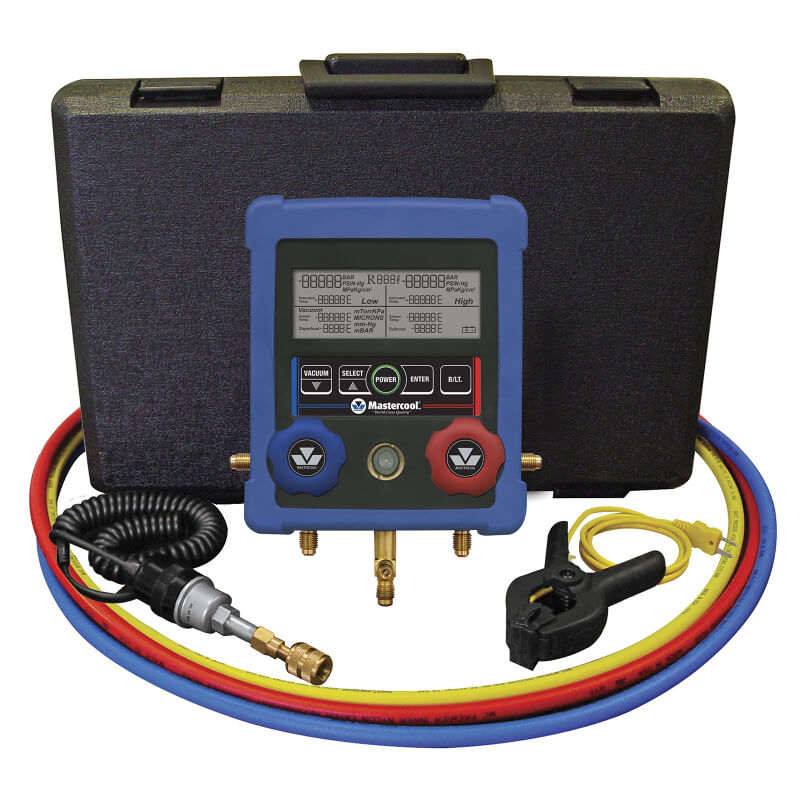 Mastercool 99661-A HVAC Digital Manifold with Hoses Vacuum and Temperature