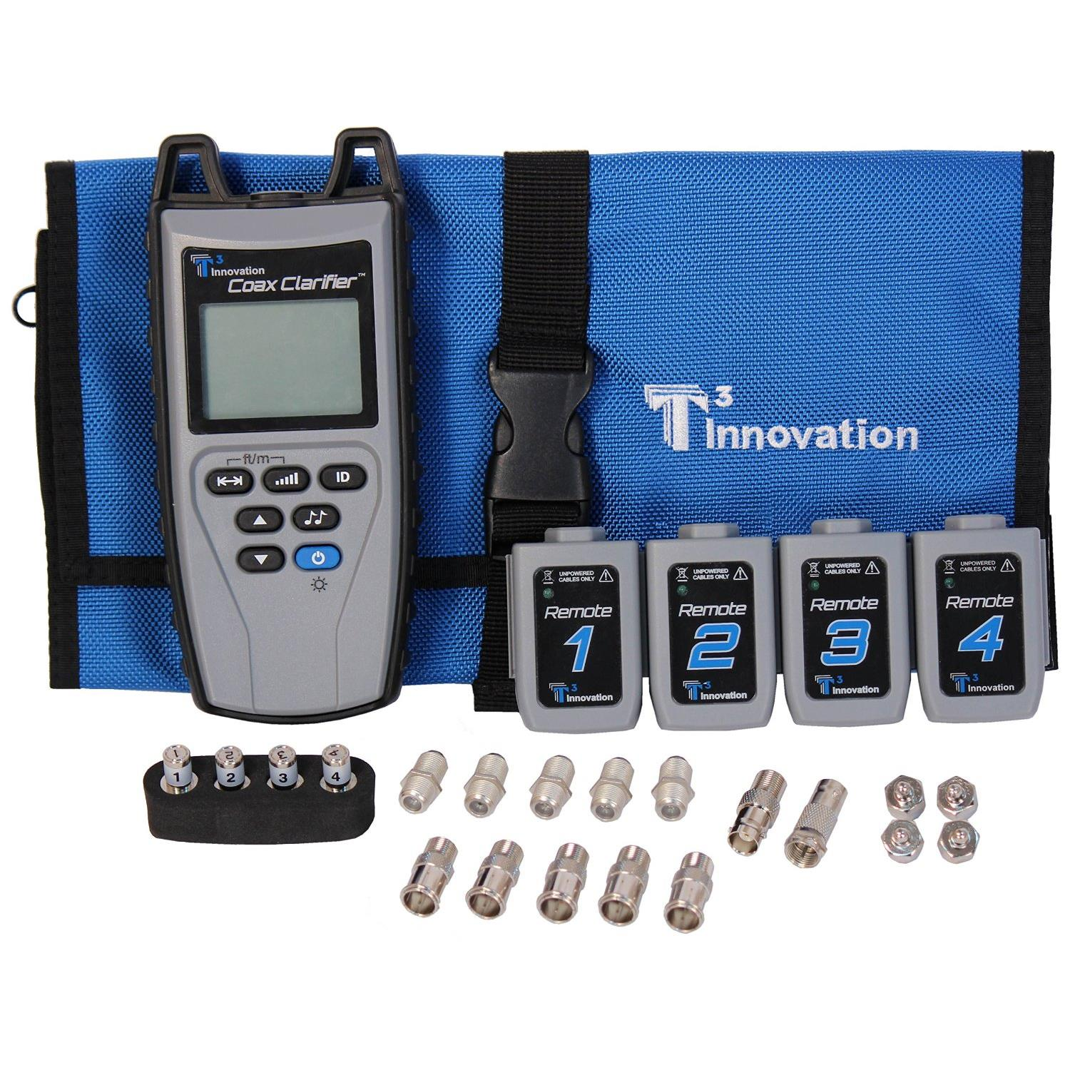 T3 Innovation CC210 Coax Clarifier Tester and 4 No 1-4 RF Remotes