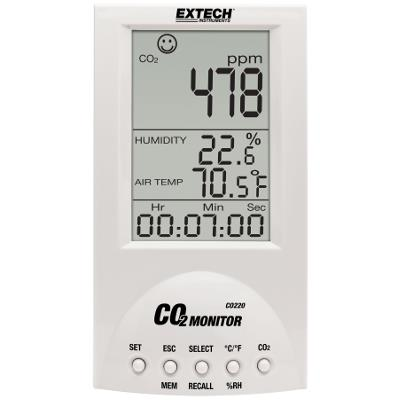 Extech CO220 Desktop Indoor Air Quality Monitor for CO2 | ValueTesters com