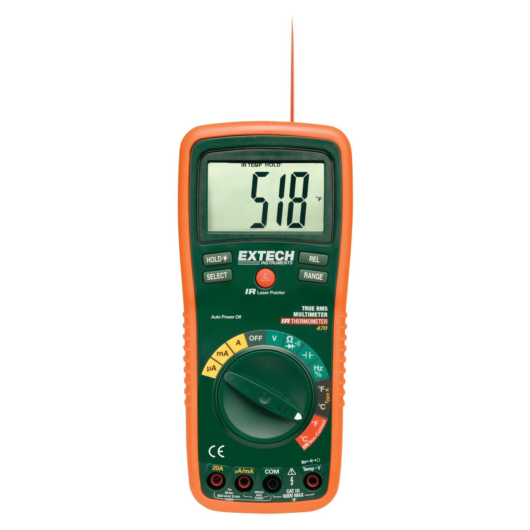 Extech EX470 TRMS Digital Multimeter with Infrared Thermometer