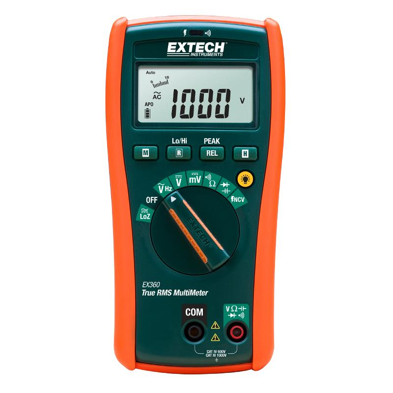 Extech EX360 True RMS Multimeter with 8 functions and Non-Contact Voltage Detector