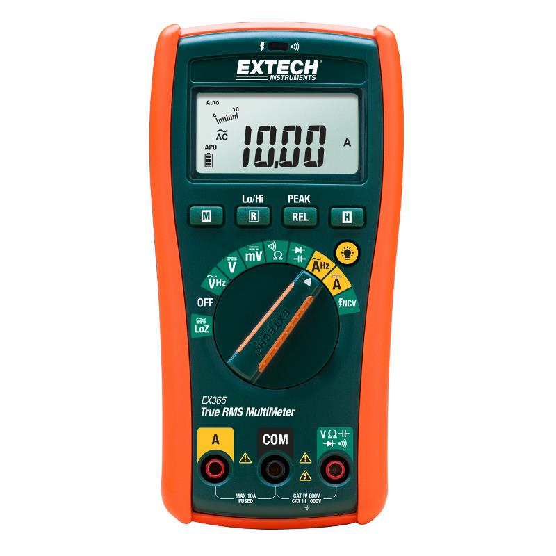 Extech EX365 True RMS Industrial Multimeter with 10 functions and Non-Contact AC Detector