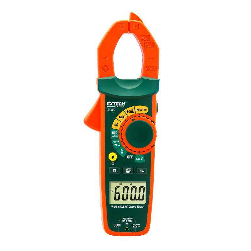 Extech EX650 TRMS 600A AC Clamp Meter and NVC Probe