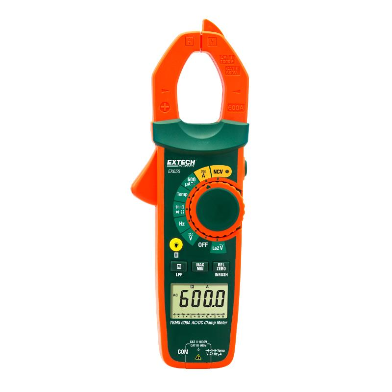 Extech EX655 True RMS 600A ACDC Clamp Meter and Non-Contact Volt Tester