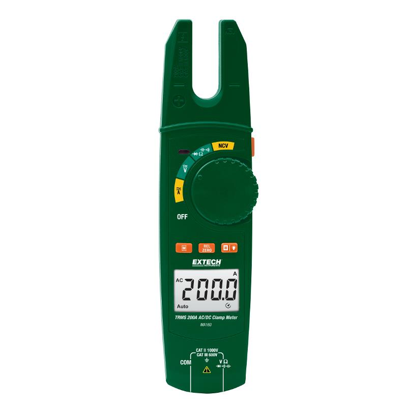 Extech MA160 True RMS 200A AC Open Jaw Clamp Meters with NCV LED Alert