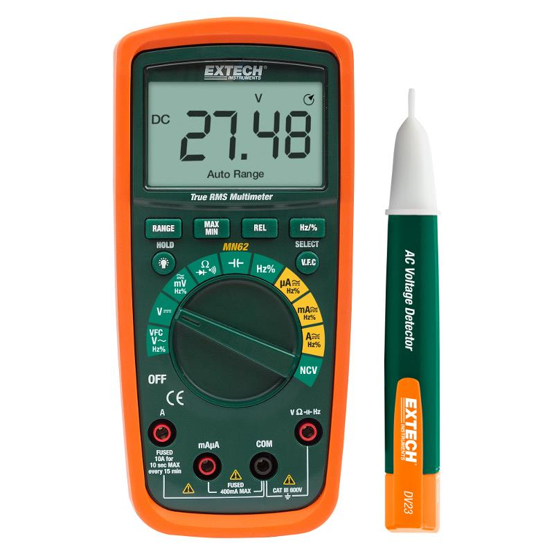 Extech MN62-K True RMS Multimeter 10 Function DMM and AC Detector Kit