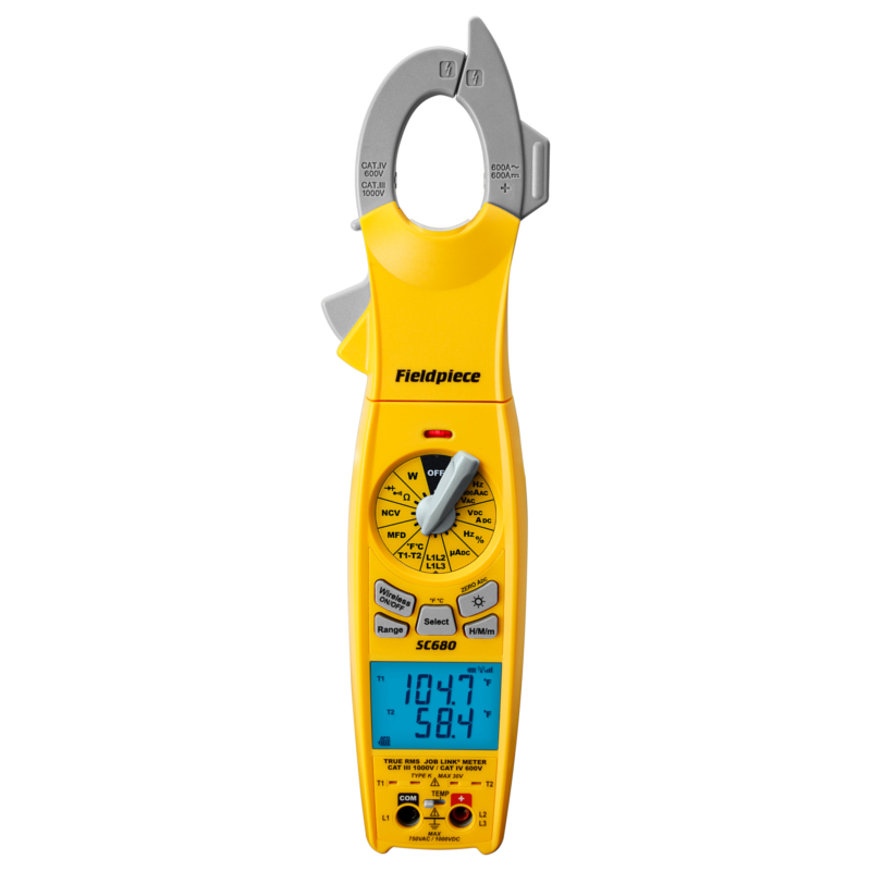 Fieldpiece SC680 Wireless AC DC Power Clamp Meter CAT IV 600V - CAT III 1000V Built for Mini-Split Systems