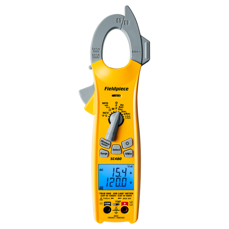 Fieldpiece SC480 Wireless TRMS Power Clamp Meter CAT IV 600V - CAT III 1000V - Works with Job Link App [Free 2nd Day Shipping]