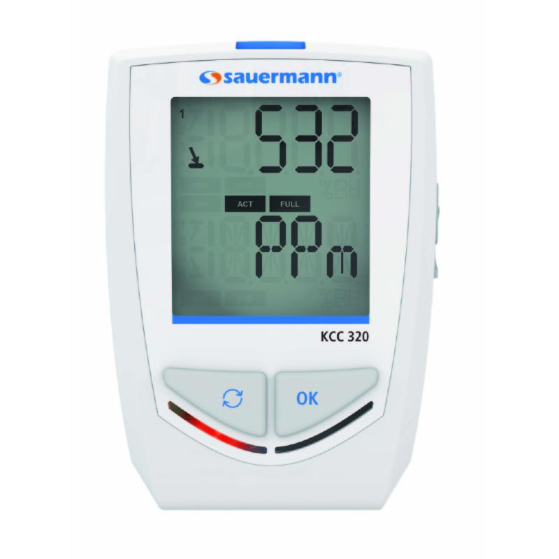 Sauermann KCC320 Data Logger 4 Sensors Temperature Humidity CO2 and Atmospheric Pressure
