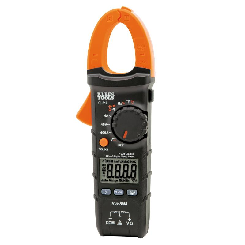 Klein Tools CL310 TRMS Digital Clamp Meter 400A AC Current Auto Ranging AC/DC Voltage