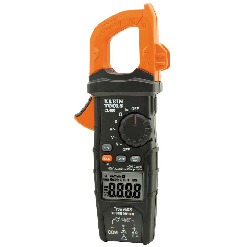 Klein Tools CL600 TRMS Digital Clamp Meter 600A AC Auto Ranging AC/DC Voltage CAT IV