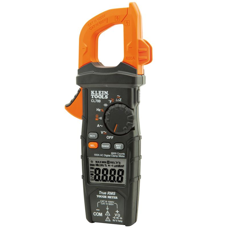Klein Tools CL700 TRMS Digital Clamp Meter 600A AC Current AC/DC Voltage Temperature