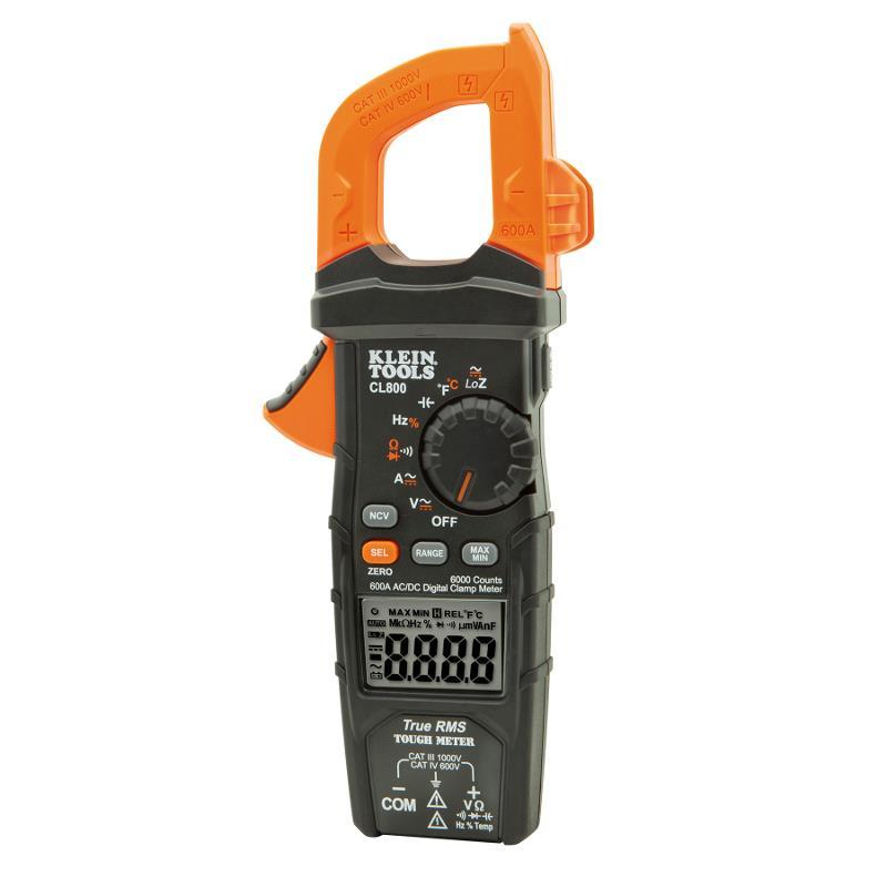 Klein Tools CL800 TRMS Digital Clamp Meter 600A AC Auto Ranging and Temperature