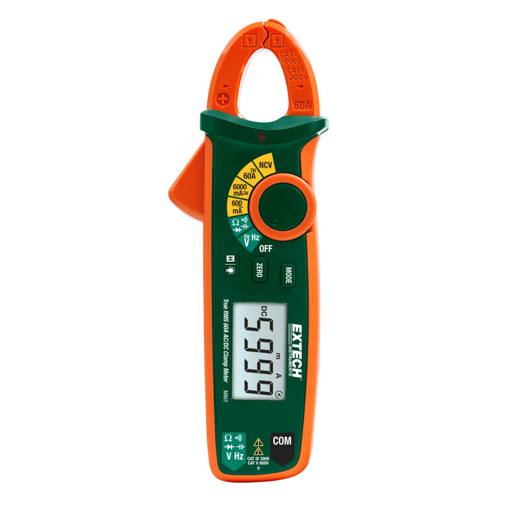 Extech MA63 True RMS 60A ACDC Clamp Meter with Non-Contact Voltage Test