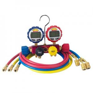 Robinair 43166 Digital Gauge 4-Way Charging Manifold with Hose Set
