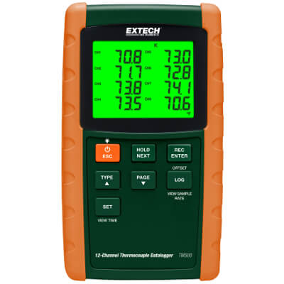 Extech TM500 Thermocouple 12-Channel Datalogger Thermometer