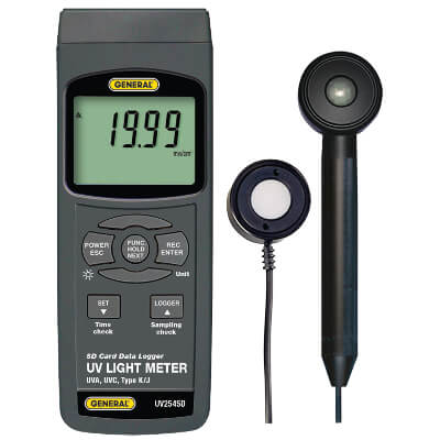 General Tools UV254SD Data Logger UVA UVC Light Intensity Meter