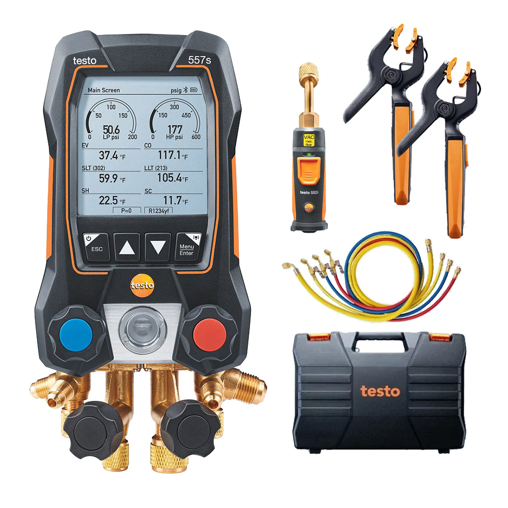 Testo 557s Smart Vacuum Kit Digital Manifold with Wireless Temperature and Vacuum Probes Part 0564 5572 01