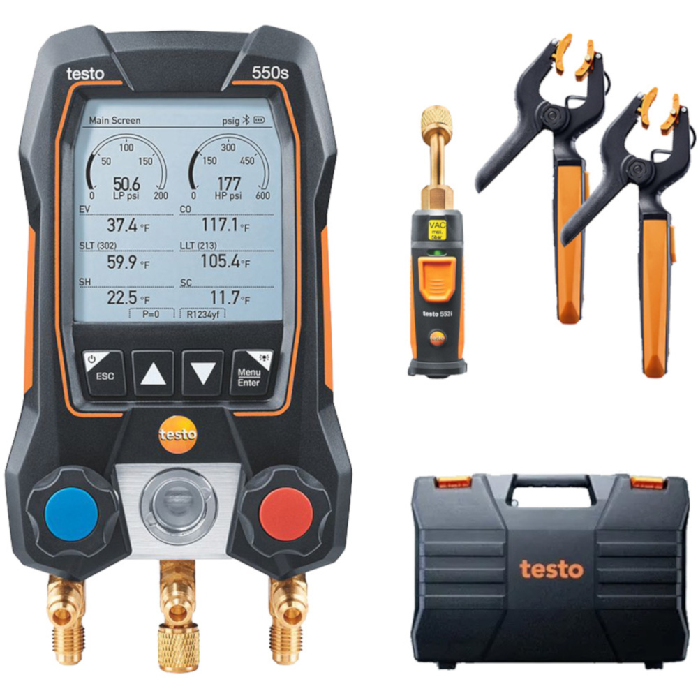 Testo 550s Smart Digital Manifold with Wireless Temperature Clamps and Vacuum Probe - Part 0564 5504 01