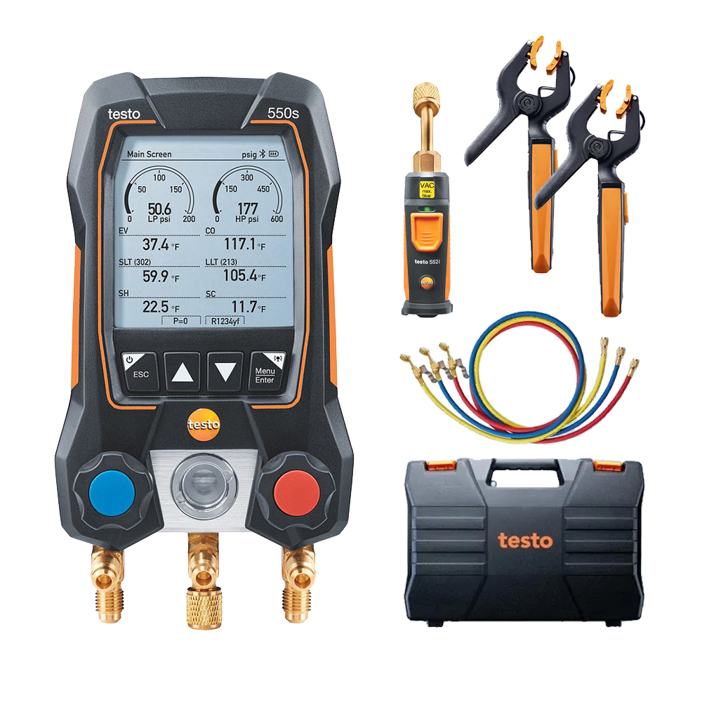 Testo 550s Smart Digital Manifold with Wireless Temperature Clamps Vacuum Probe and 3 Hoses Part 0564 5505 01