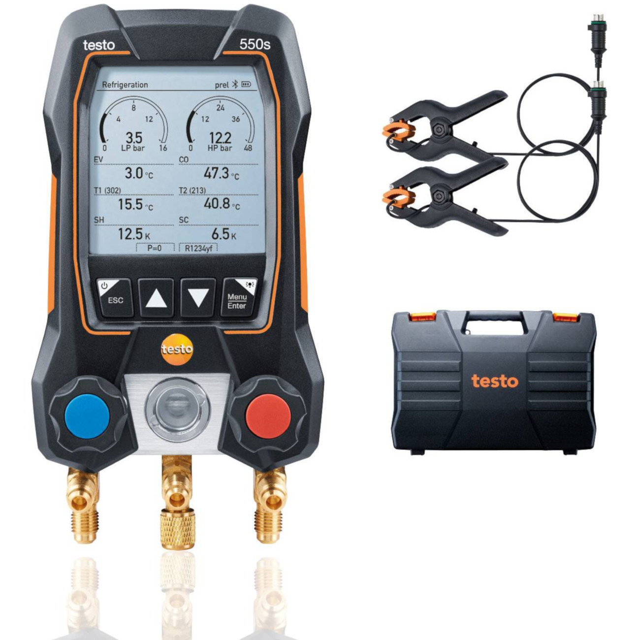 Testo 550s Basic Kit Smart Digital Manifold with Wired Temperature Clamps Bluetooth and 2-Way Valve Block - Part 0564 5501 01
