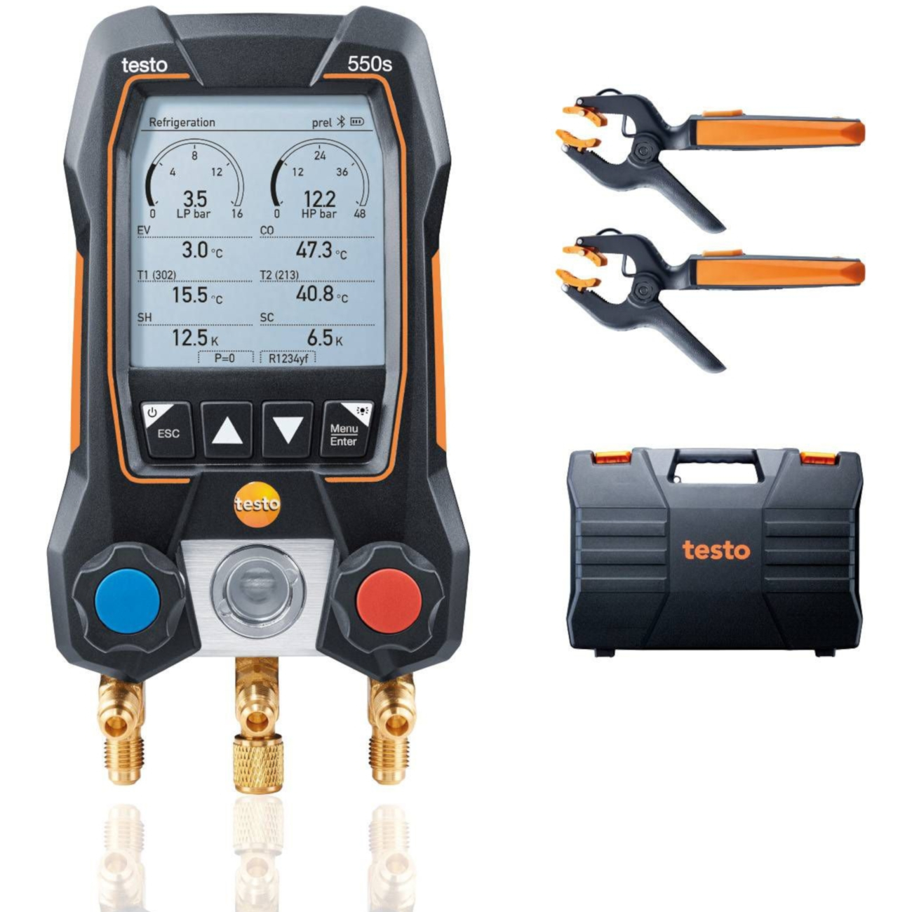 Testo 550s Smart Kit - Digital Manifold with Wireless Temperature Clamps Part 0564 5502 01