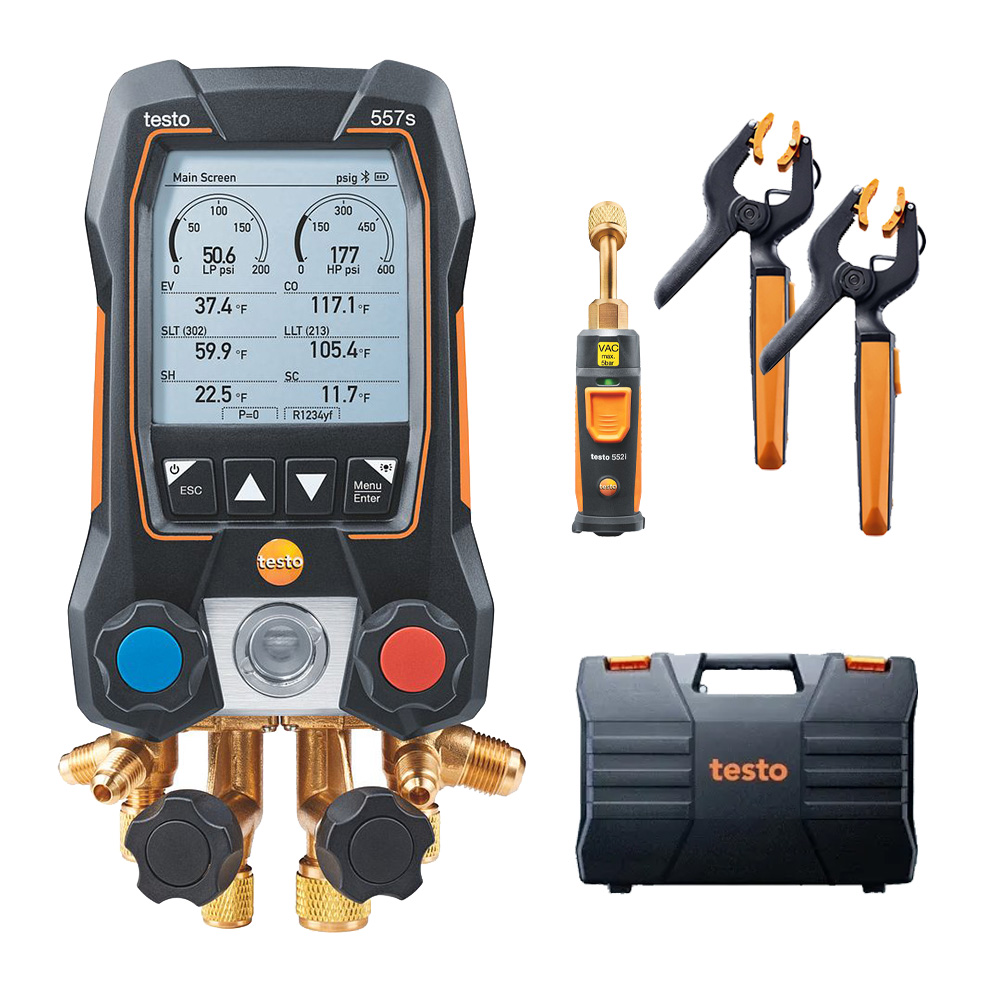 Testo 557s Smart Vacuum Kit Digital Manifold with Wireless Temperature and Vacuum Probes Part 0564 5571 01