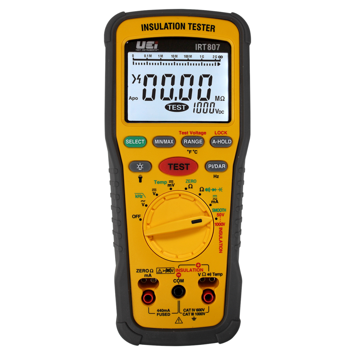 UEi IRT807 Digital Insulation Resistance Tester with 1000V Stress Test 40 MOhm